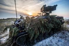 Mit Zweigen eines Nadelbaumes getarnter Panzer der Bundeswehr im Gelände.