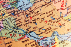 Auschnitt der Region MENA aus einem Globus
