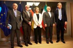 Außenminister Fabius, Steinmeier, Hammond und Zarif mit Federica Mogherini