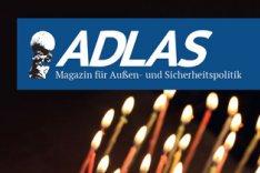 """Das Bild zeigt die Titelseite der aktuellen Ausgabe des """"ADLAS Magazin für Außen- und Sicherheitspolitik"""" vom November 2015."""