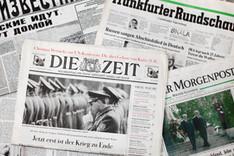 Collage von deutschen und russischen Zeitungsschlagzeilen vom Ende August 1994