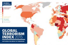 "Welt-Übersichtskarte ""2015 Global Terrorism Index Map"" des Institute for Economics & Peace"