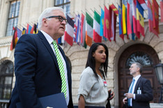 German Foreign Minister Frank-Walter Steinmeier in front of the OSCE headquarters in Vienna