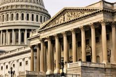 Blich auf das Capitol in Washington D.C. USA vom Senatsflügel aus