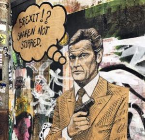 """Das Graffito eines Mannes im braunen Anzug ist zu sehen, mit der Sprechblase """"Brexit!? Shaken not stirred."""""""