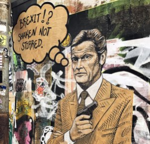 Graffito on a wall, that shows a comic version of James Bond