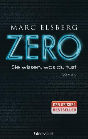 """Da Bild zeigt das Cover von Marc Elsbergs Buch \""""ZERO\""""; der Titel ist in blauer Schrift auf schwarzem Grund wiedergegeben."""