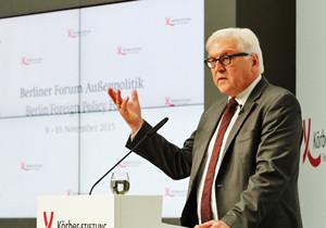 Außenminister Frank-Walter Steinmeier hält eine Rede auf dem Forum Außenpolitik 2015 der Körber-Stiftung am 10. November in Berlin