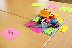 Eine große Anzahl an Lego-Bausteinen und beschriftete Zettel liegen auf einen Tisch.