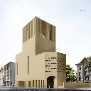 Das Bild zeigt das Modell eines interreligiösen Gebäudes.