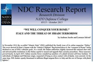 """Titelseite eines Forschungsberichts des NATO Defense College mit der Überschrift: """"'We will conquer your Rome': Italy and the threat of jihadi terrorism"""""""