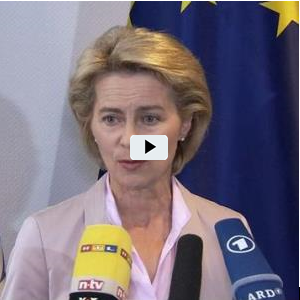 Screenshot von Ursula von der Leyen im Video-Interview