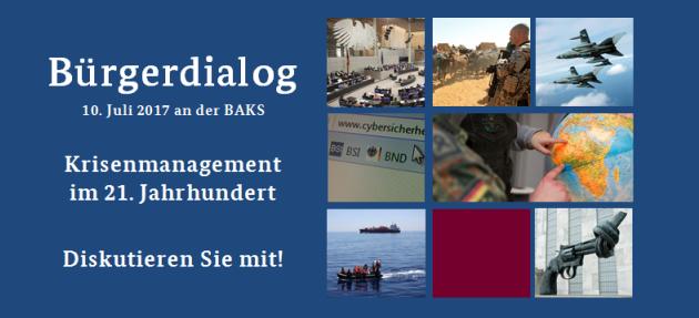Das Plakat für den Bürgerdialog zeigt links Titel und Daten, rechts sieben Fotos mit verschiedenen sicherheitspolitikbezogenen Inhalten.