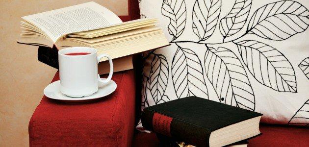 Bücher und eine Tasse Tee auf einem roten Sofa