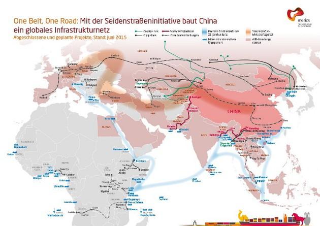 Seidenstraßeninitiative: Karte mit globalen Infrastrukturprojekten der Volksrepublik China