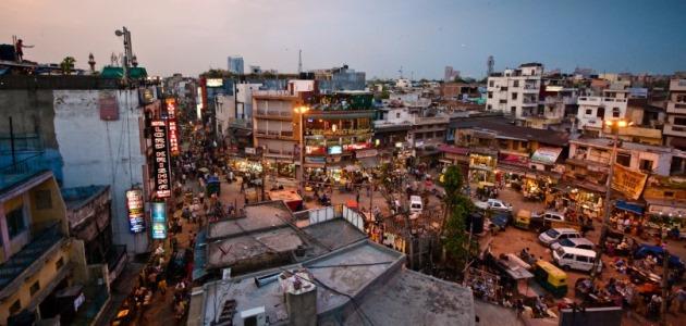 Der Hauptbazar in Delhi von oben.