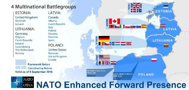 Eine Karte zeigt eine Übersicht der truppenstellenden Staaten für die NATO Enhanced Forward Presence in Polen und im Baltikum.