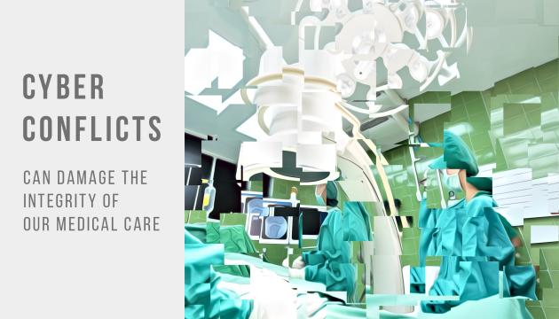 Das Bild zeigt in abstrahiert-verschwommener Darstellung einen Operationssaal, in dem medizinisches Personal arbeitet.