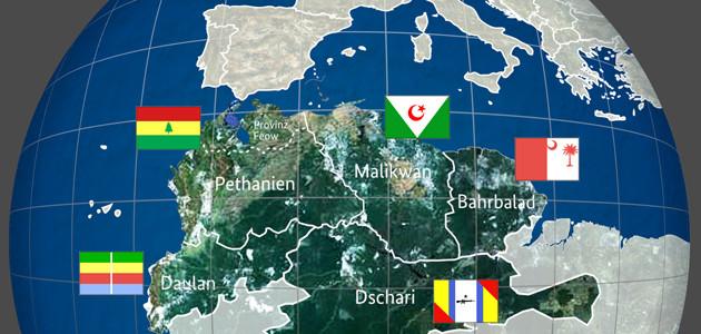 """Satellitenkarte und Nationalflaggen von fünf fiktiven Staaten des erfundenen Kontinents """"Konseptimo"""", südlich des Mittelmeers an der Stelle von Nordafrika gelegen"""