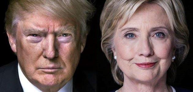Portraitaufnahme von Donald Trump und Hillary Clinton